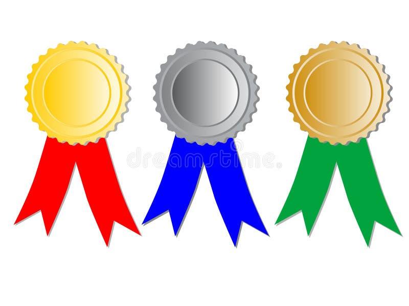 Três medalhas com fitas ilustração stock