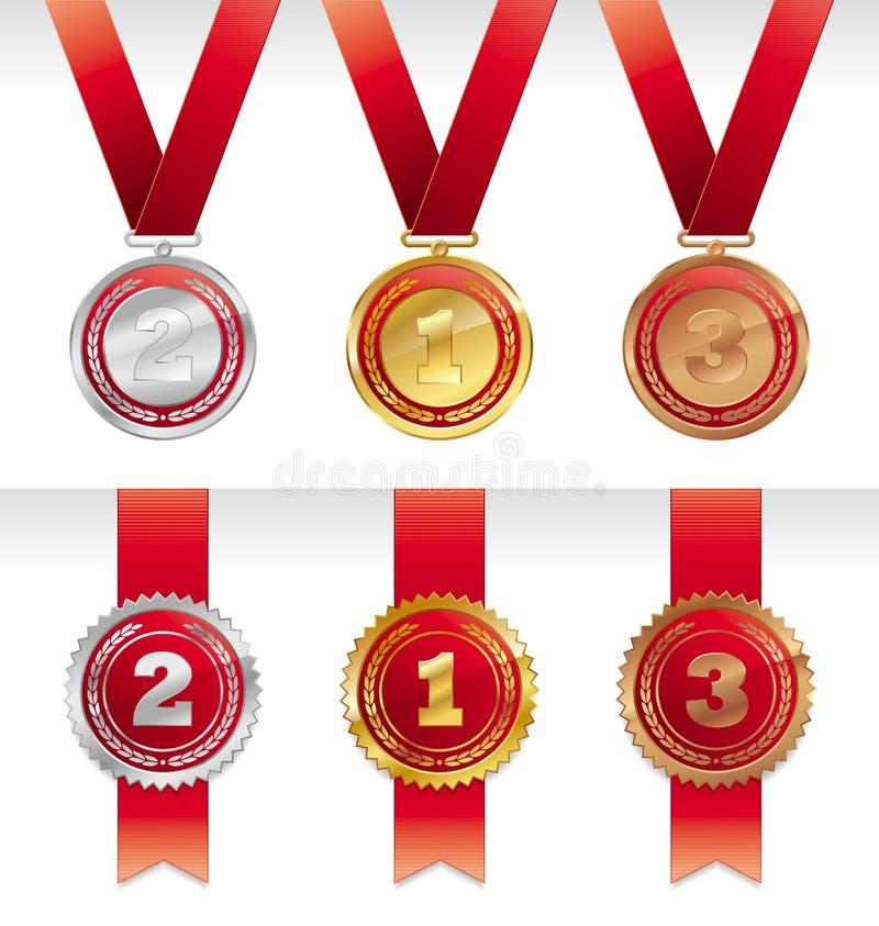Três medalhas - ouro, prata e bronze ilustração stock