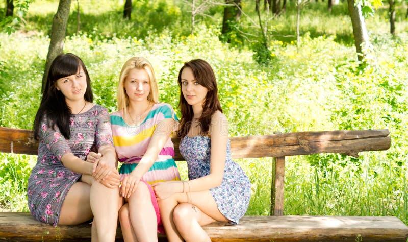 Três meninas atrativas em um banco de madeira imagem de stock