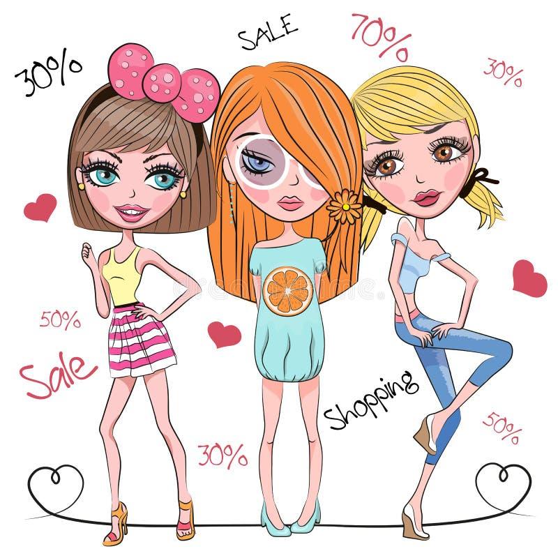 Três meninas bonitos ilustração royalty free