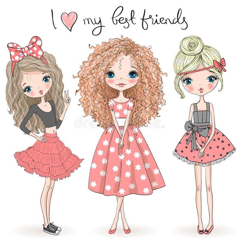 Três meninas bonitos bonitas tiradas mão no fundo com a inscrição eu amo meus melhores amigos ilustração stock