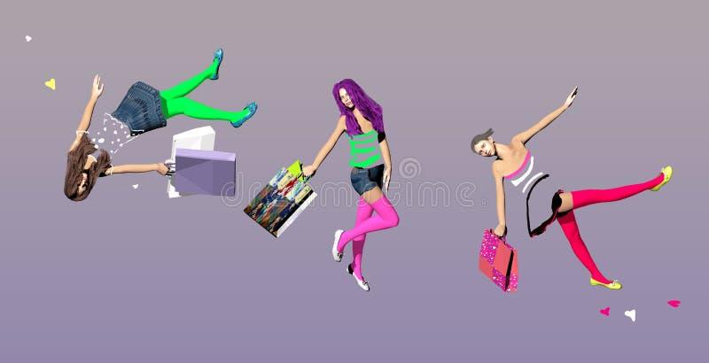 Três meninas com os sacos de compras no meio do ar ilustração do vetor
