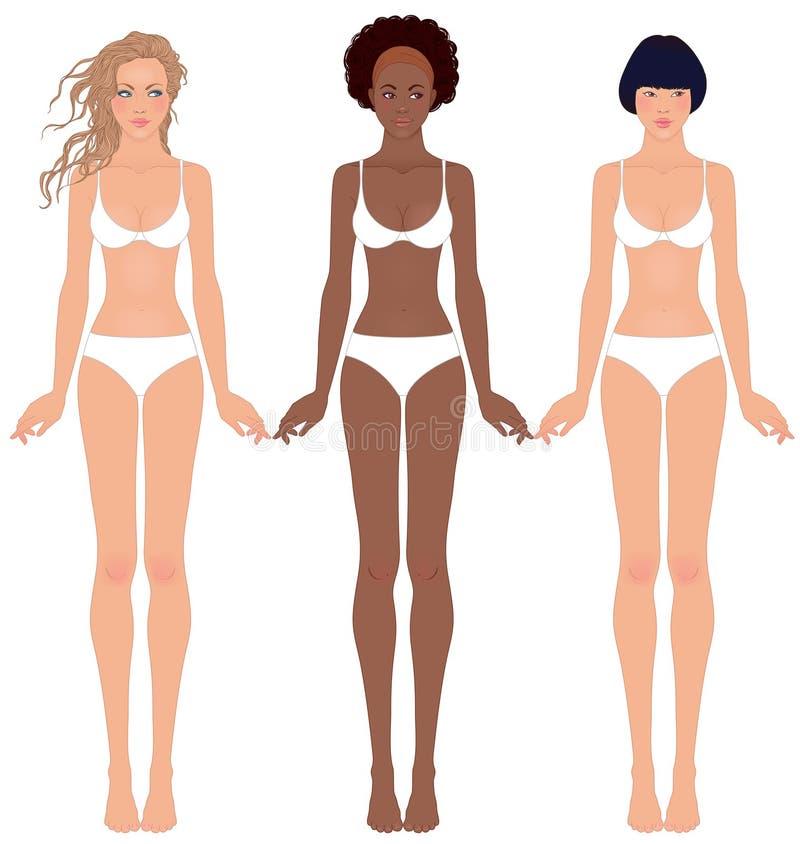 Três meninas consideravelmente adolescentes no roupa interior ilustração royalty free