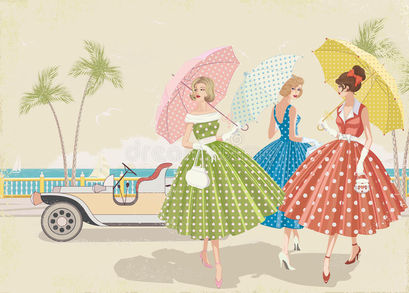Três meninas no mar ilustração stock