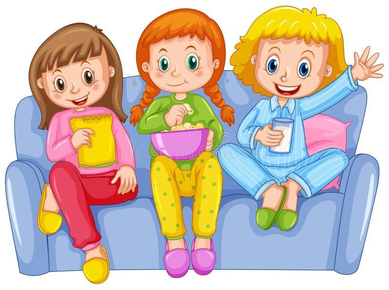 Três meninas no partido de descanso ilustração do vetor