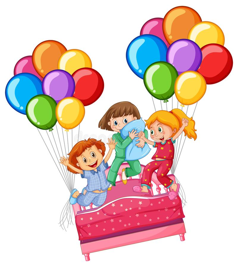 Três meninas no partido de descanso ilustração royalty free