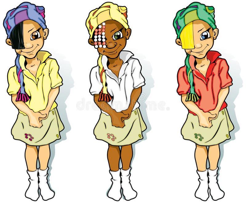Três meninas nos Scarves ilustração royalty free