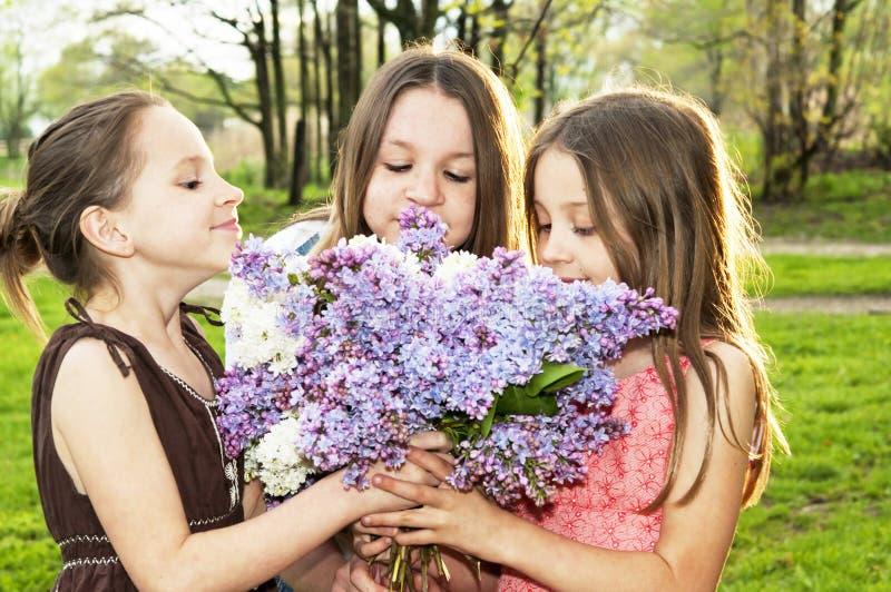 Três meninas que cheiram flores do lilás do ramalhete foto de stock royalty free