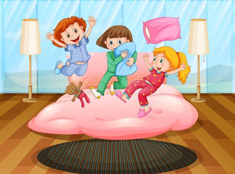 Três meninas que jogam no partido de descanso ilustração stock