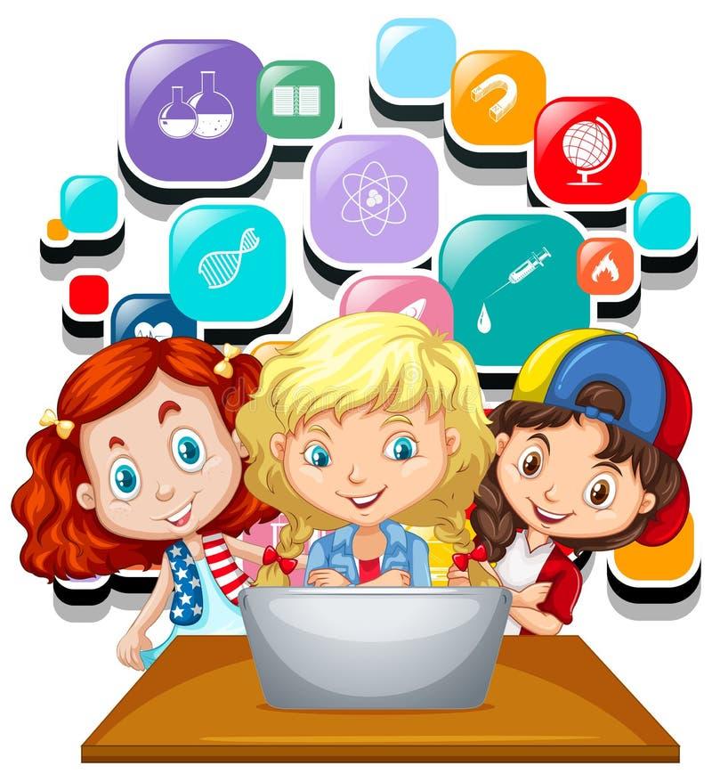 Três meninas que trabalham no portátil do computador ilustração do vetor