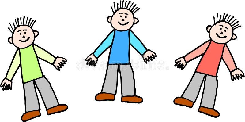 Três meninos ilustração stock