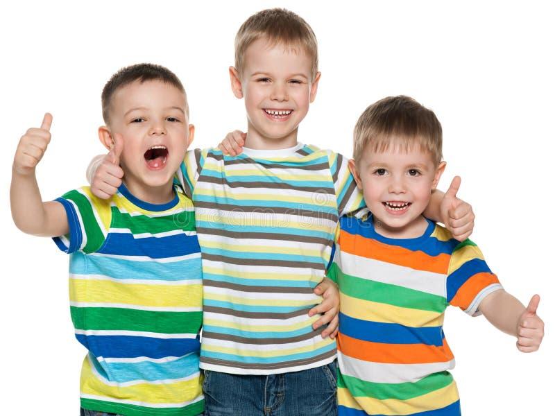 Três meninos alegres foto de stock royalty free