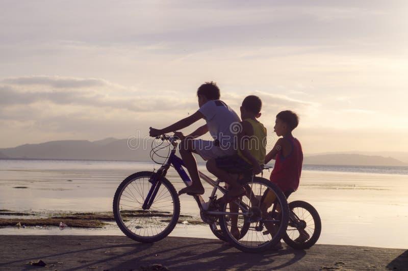 Três meninos que montam na bicicleta na costa de mar silhuetas fotos de stock royalty free