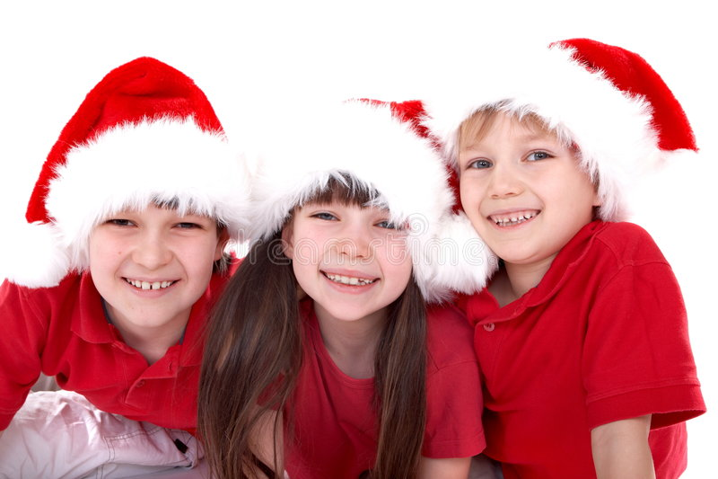 Três miúdos de Santa fotografia de stock