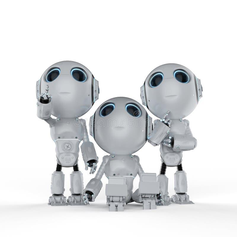 Três mini robôs ilustração do vetor