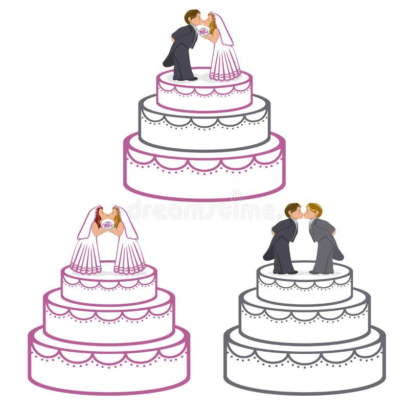 Bolos de casamento ilustração stock