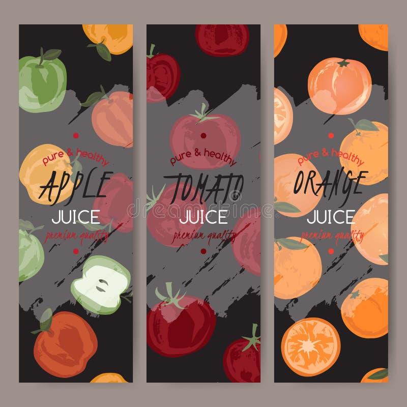 Três moldes do vetor para o suco da maçã, da laranja e de tomate ilustração do vetor