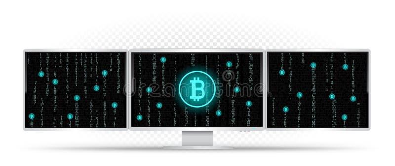 Três monitores brancos que minam o bitcoin ilustração do vetor