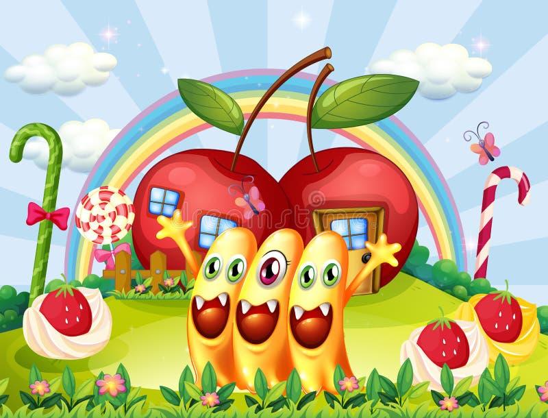 Três monstro na cume perto das casas da maçã ilustração do vetor
