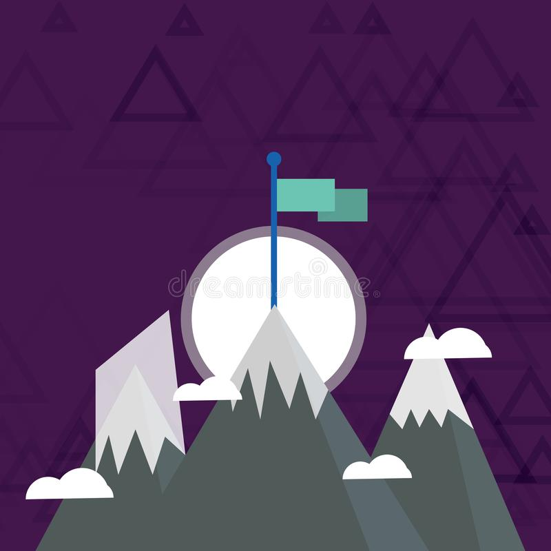 Três montanhas com neve vão acima além das nuvens pequenas Um tem a bandeira colorida vazia que está no pico creativo ilustração royalty free