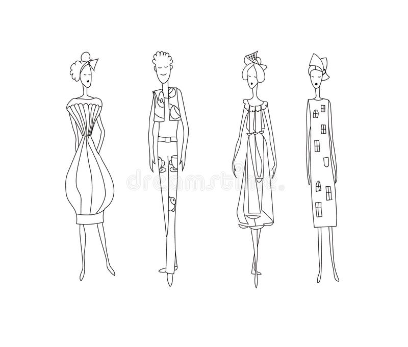 Três mulheres da forma e um homem Imagem dos modelos de vetor do desenho ilustração stock