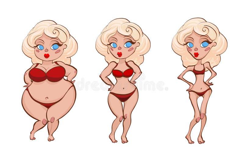 Três mulheres dos desenhos animados foto de stock