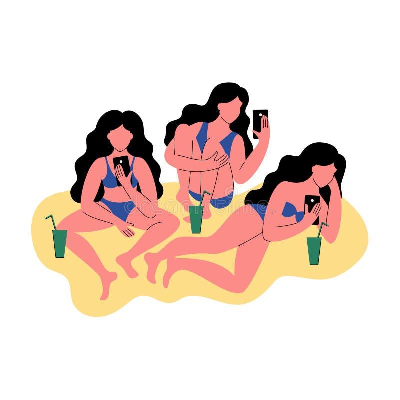 Três mulheres no uso do biquini um smartphone Mulheres com cocktail Ilustração do vetor ilustração stock