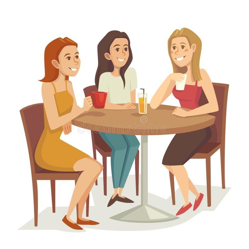 Três mulheres que bebem o café e o chá no restaurante ou no café, ilustração do vetor dos desenhos animados ilustração royalty free