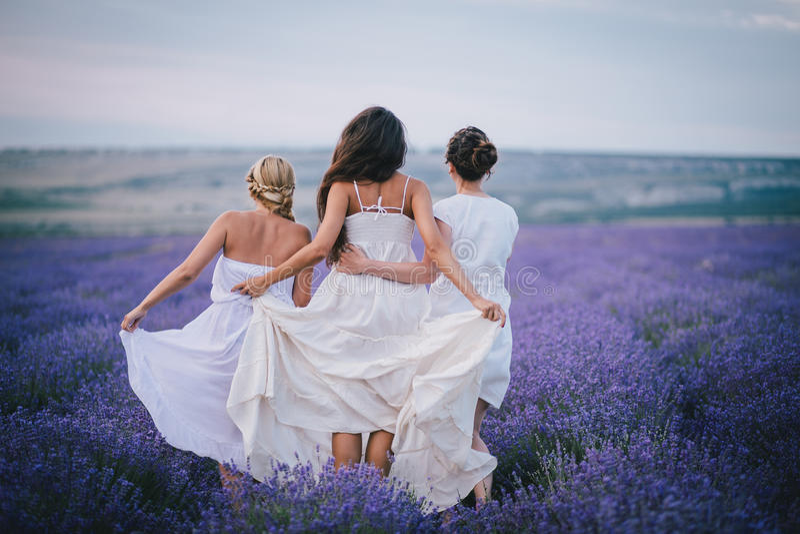 Três mulheres que levantam em um campo da alfazema foto de stock royalty free