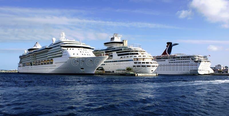 Três navios de cruzeiros fotos de stock royalty free