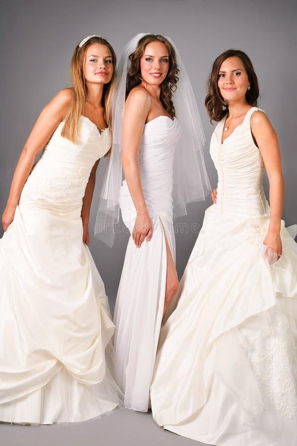 Três noivas bonitas que levantam no estúdio imagem de stock royalty free