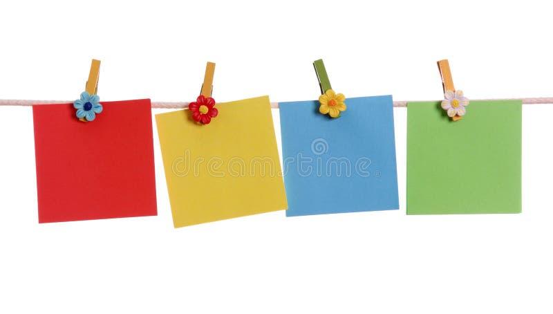 Três notas em branco fotografia de stock