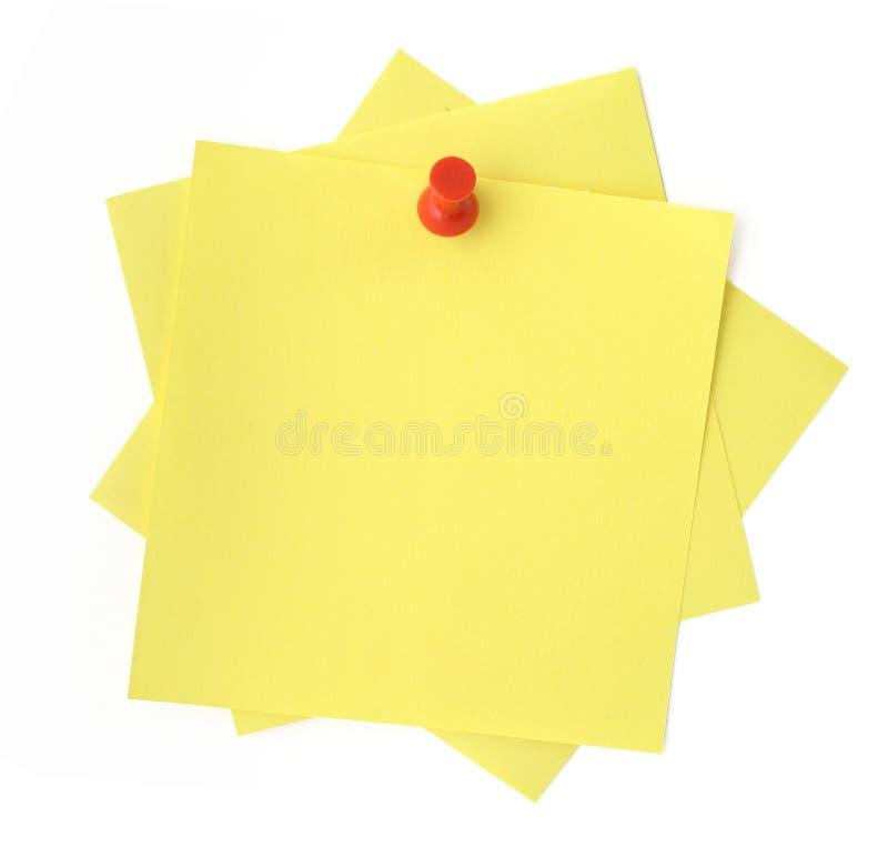 Três notas pegajosas amarelas foto de stock