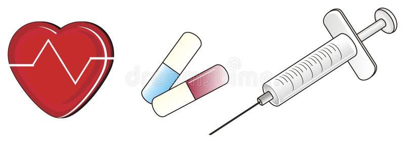 Três objetos de médico ilustração do vetor