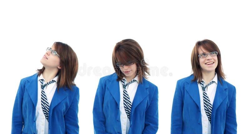 Três opiniões a mulher de negócio imagem de stock royalty free