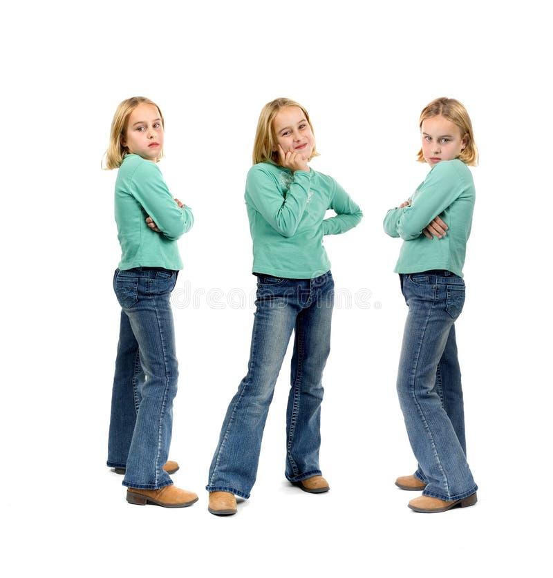 Três opiniões uma rapariga imagem de stock