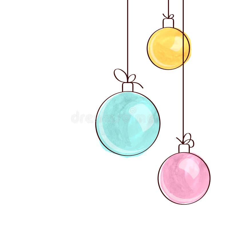 Três ornamento da bola do Natal da aquarela ilustração do vetor