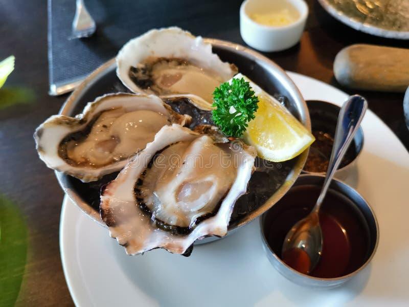 Três ostras frescas com Tabasco e vinho tinto fotos de stock