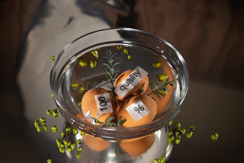 Três ovos com nota '100 ', '% ', 'qualidade 'estão na água na bacia na tabela/fundo transparentes Dia da qualidade do mundo imagem de stock royalty free