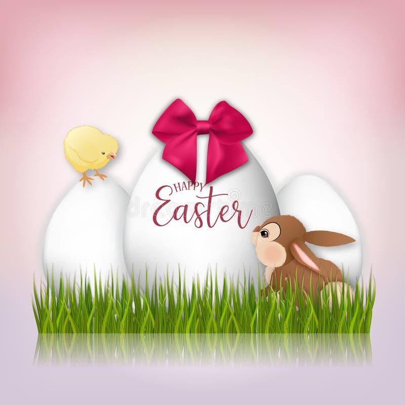 Três ovos da páscoa, coelhos e galinhas brancos do amarelo Fundo de Easter ilustração do vetor