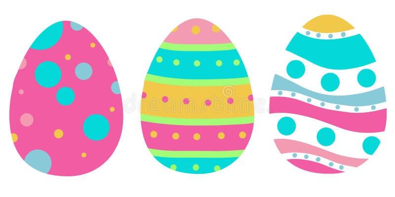 Três ovos da páscoa coloridos aprontam-se para ser apreciar ilustração do vetor