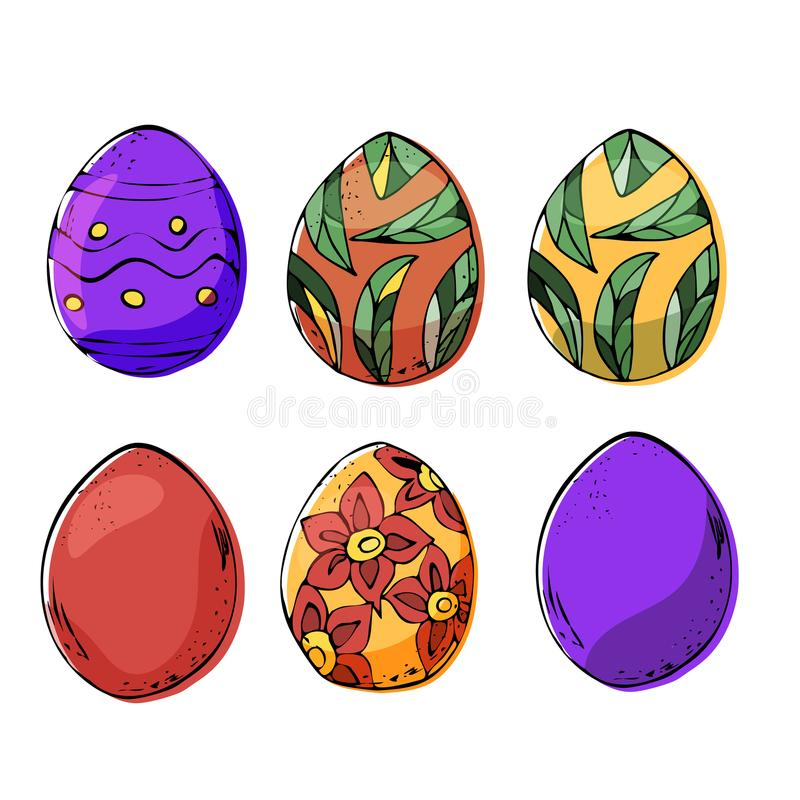 Três ovos da páscoa em cores escuras e claras ilustração do vetor