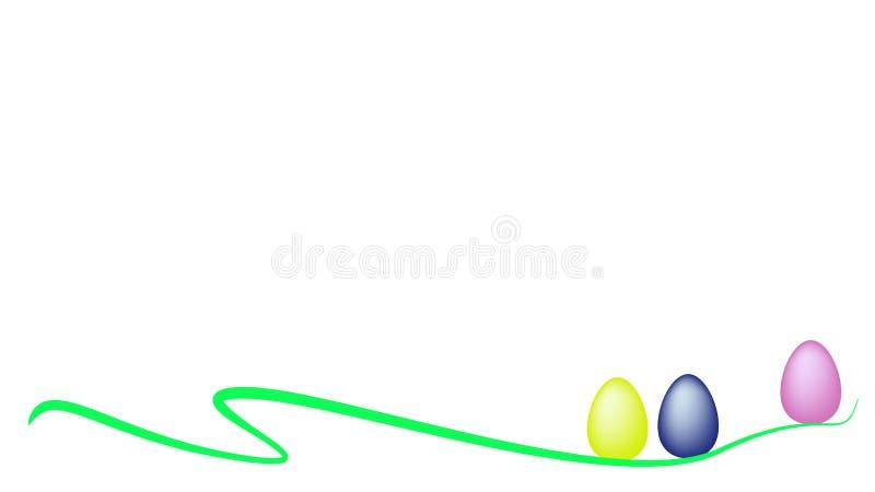 Três ovos da páscoa em uma linha curvada verde bandeira ilustração stock