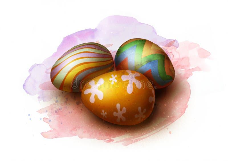 Três ovos da páscoa pintados coloridos, esboço ilustração stock