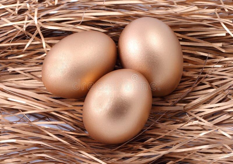 Três ovos dourados no ninho fotos de stock royalty free