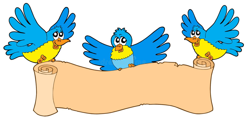 Três pássaros com pergaminho ilustração stock