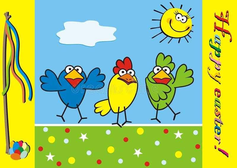 Três pássaros, easter feliz, ícone engraçado do vetor, cartão ilustração do vetor