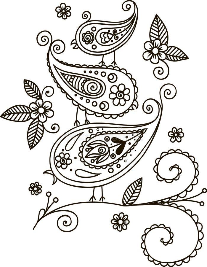 Três pássaros em um ramo Fundo floral do projeto?, contexto, projeto da ilustração ilustração royalty free