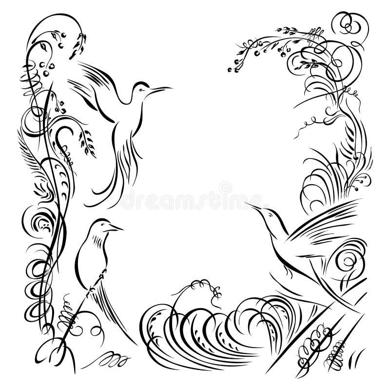Três pássaros A grama de roda da caligrafia, flores, planta o elemento ilustração do vetor