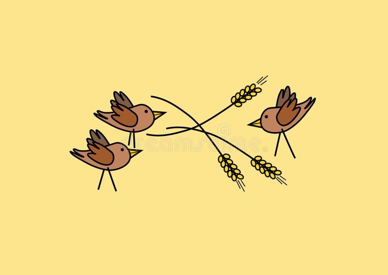 Três pássaros na grão ilustração stock